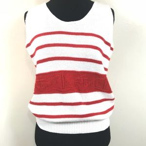 VTG ANCHOR SAILBOAT KNITTED TANK TOP SWEATER SZ M